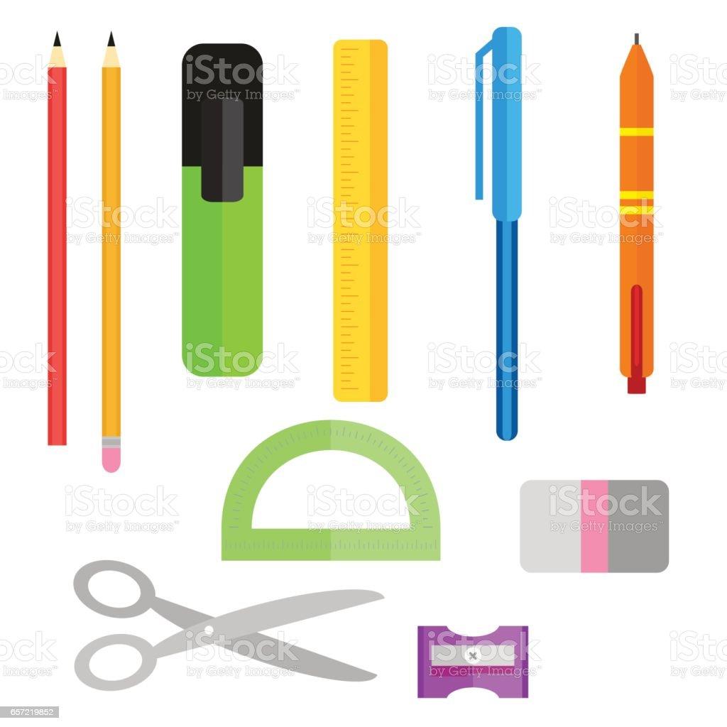 Uppsättning av skolmaterial. Pennor pennor sax och linjal. Pennvässare och  sudd. Samling av 42f23da3ed1ac