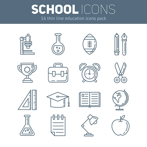 bildbanksillustrationer, clip art samt tecknat material och ikoner med set of school thin lined flat icons with education elements - pen paper sign