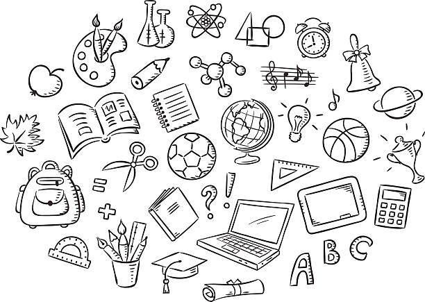 Set of School Things, Black and White Outline vector art illustration