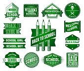 Set of School vintage labels