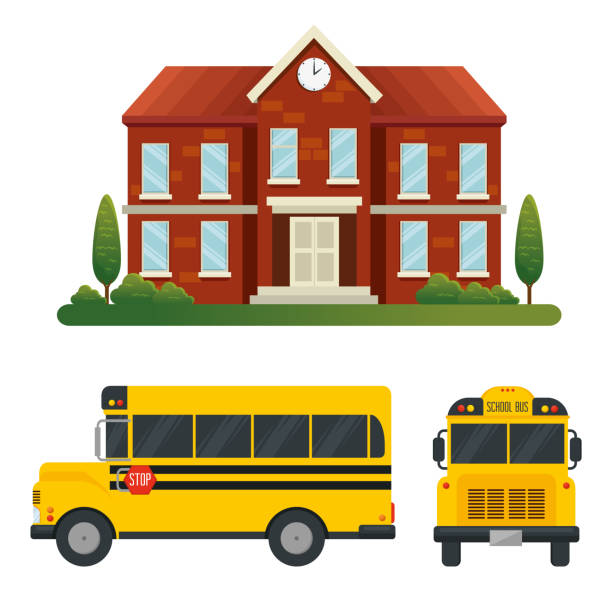 set of school with trees and bus vehicle transport vector art illustration
