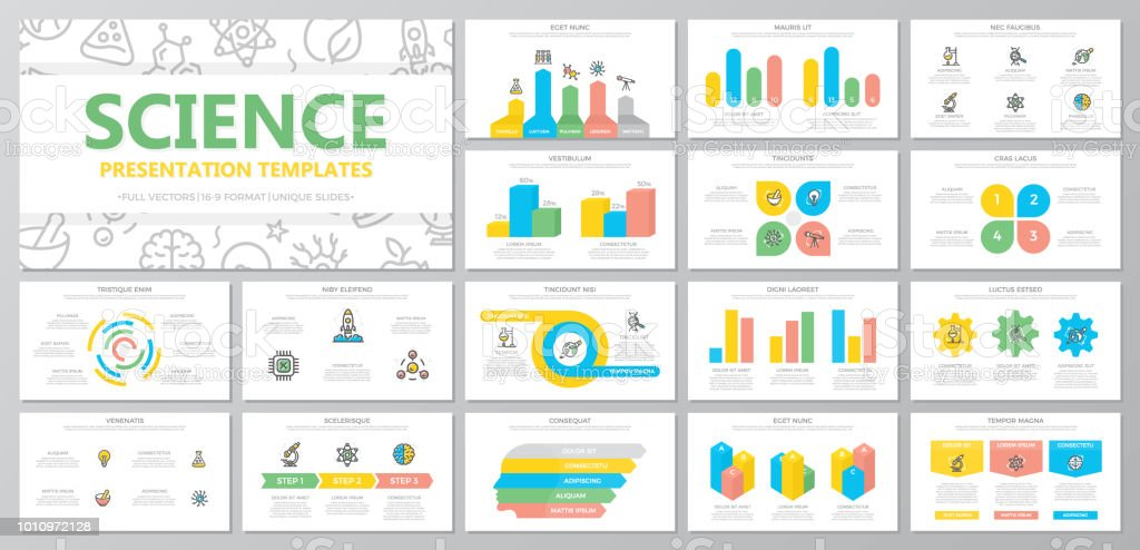 Set of science and research elements for multipurpose presentation template slides with graphs and charts. Leaflet, corporate report, marketing, advertising, book cover design. vector art illustration