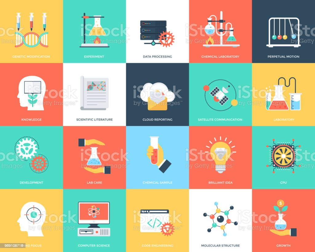 Set of Science and Technology Flat Vector Icons vector art illustration