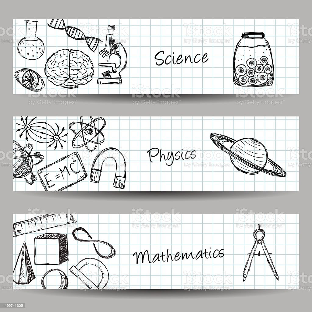 Set of Science Banners vector art illustration