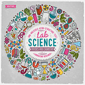 Set of Science cartoon doodle objects, symbols and items