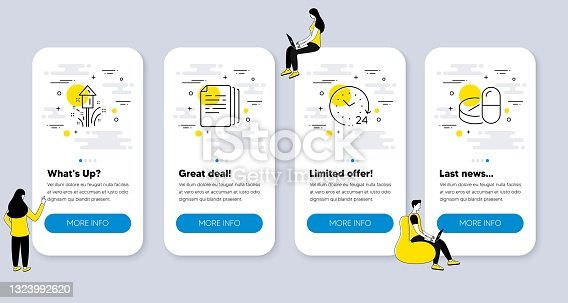 istock Set of Science icons, such as Copy documents, Fireworks, 24 hours. Vector 1323992620