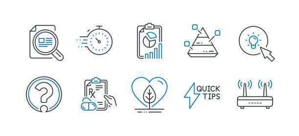 satz von wissenschaftssymbolen, z. b. bericht, timer, pyramidendiagramm. vektor - storytelling grafiken stock-grafiken, -clipart, -cartoons und -symbole
