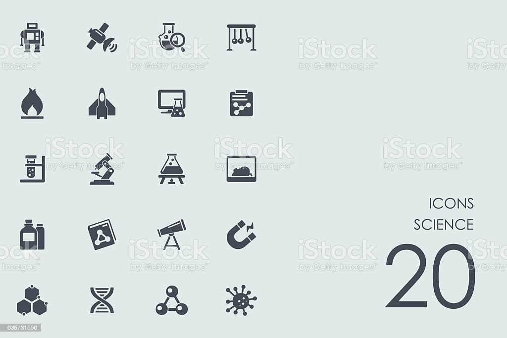 Set of science icons vector art illustration