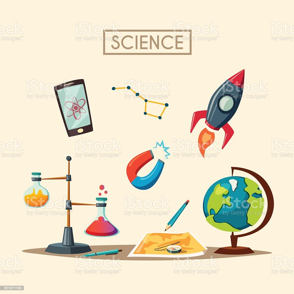 Set of science logo. Cartoon vector illustration. Education theme set of science logo cartoon vector illustration education theme – cliparts vectoriels et plus d'images de analyser libre de droits