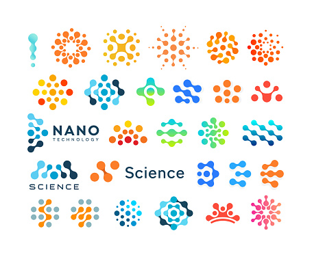 Set of science logo templates, creative dotted logotypes, modern abstract shapes, vector emblem collection.