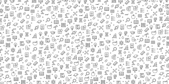 Set of Science Related Icons Vector Pattern Design