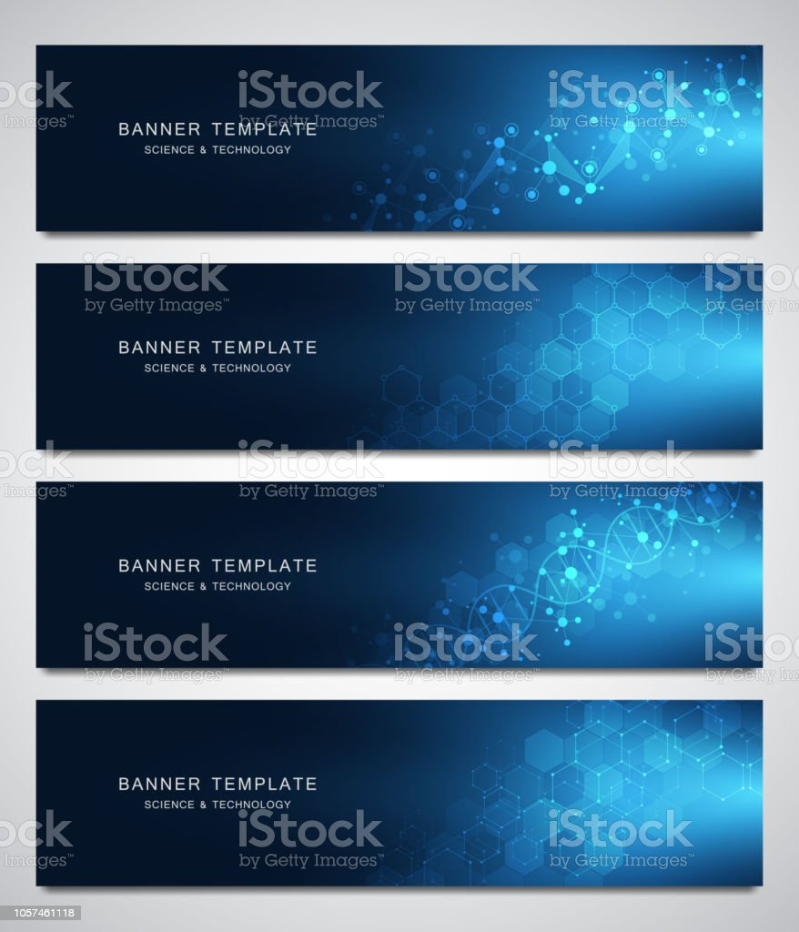 Set of scientific and technological vector banners. Abstract background with molecular structures. vector art illustration