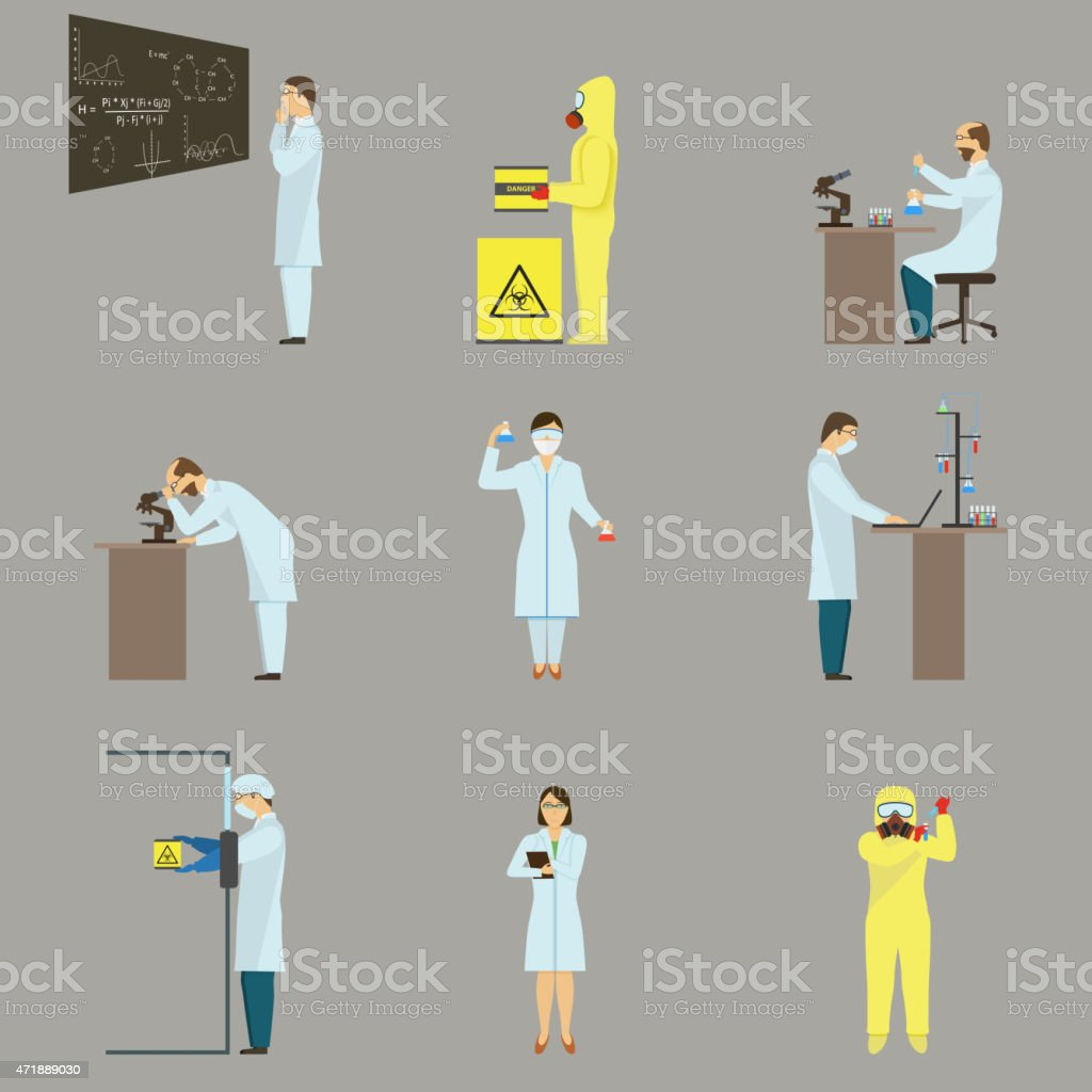 Set of Scientific Characters. vector art illustration