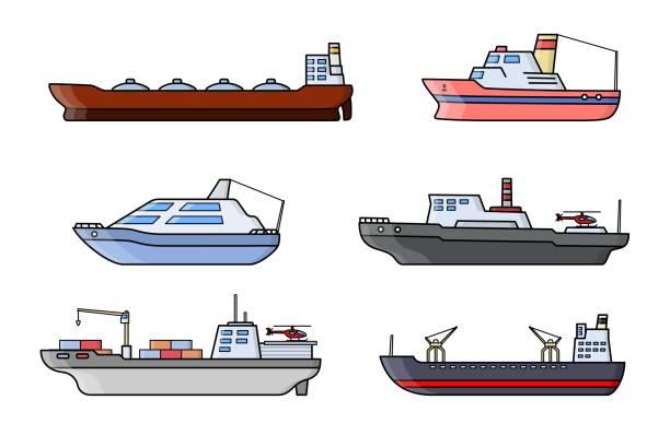 satz von wissenschaftlichen erforschung schiffe. meer-forschung-transport-fahrzeug. ozean schiff. - forschungsurlaub stock-grafiken, -clipart, -cartoons und -symbole