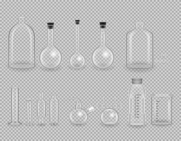 satz von wissenschaftliche glaswaren, reagenzgläser. realistische vorlagen, layouts, mock-up - becherglas stock-grafiken, -clipart, -cartoons und -symbole