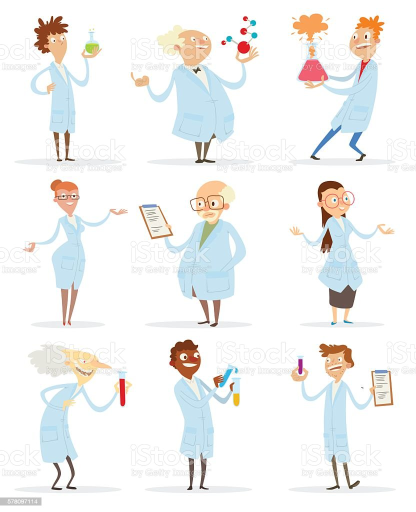 Set of scientists vector art illustration
