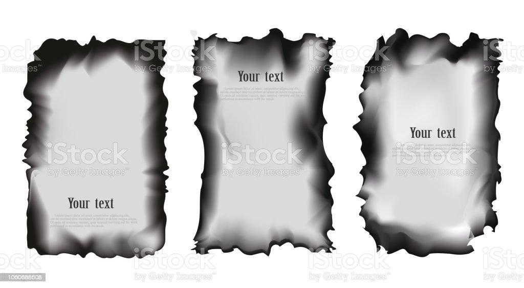 分離ベクトル イラスト背景を透過に焦げた紙のセット からっぽの