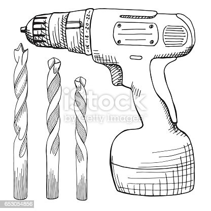 Set Of Screw Gun And Wood Drill Tools Illustration In Vector Sketch Style Stock Vector Art