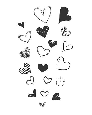 Set of scribble black hearts. A collection of heart shapes draw the hand. Symbol of love. Design elements for decoration wedding card. Vector hearts. Vector illustration.