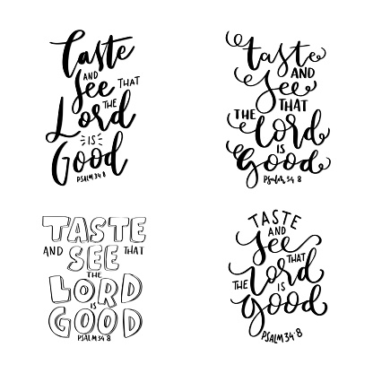 Set of Scripture Hand Lettering. Hand Lettered Quote