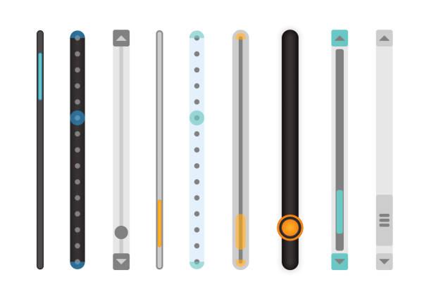 ilustrações, clipart, desenhos animados e ícones de conjunto de barras de rolagem. - deslize