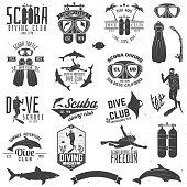 Set of Scuba diving club and diving school design