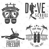 Set of Scuba diving club and diving school design. Vector illustration. Concept for shirt or , print, stamp or tee. Vintage typography design with diving gear silhouette.