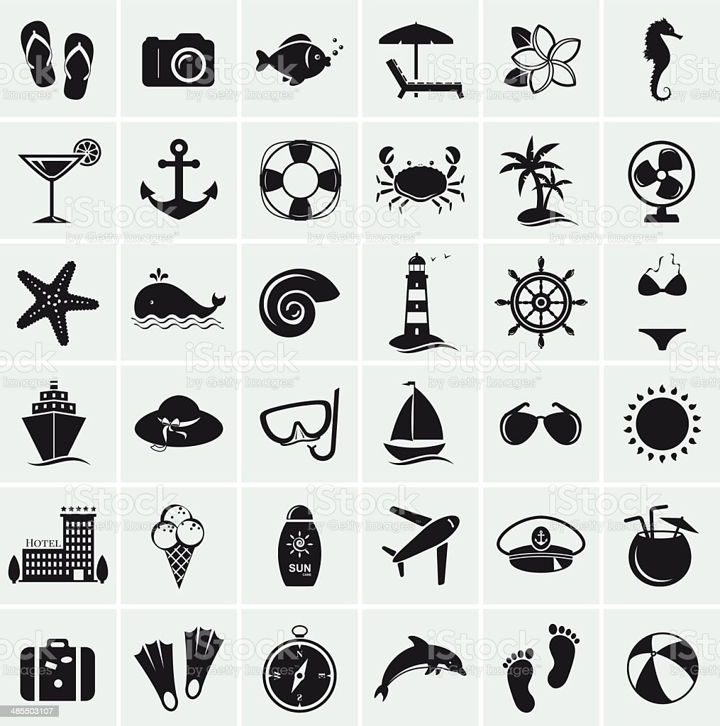 Set of sea and beach icons. Vector illustration. vector art illustration