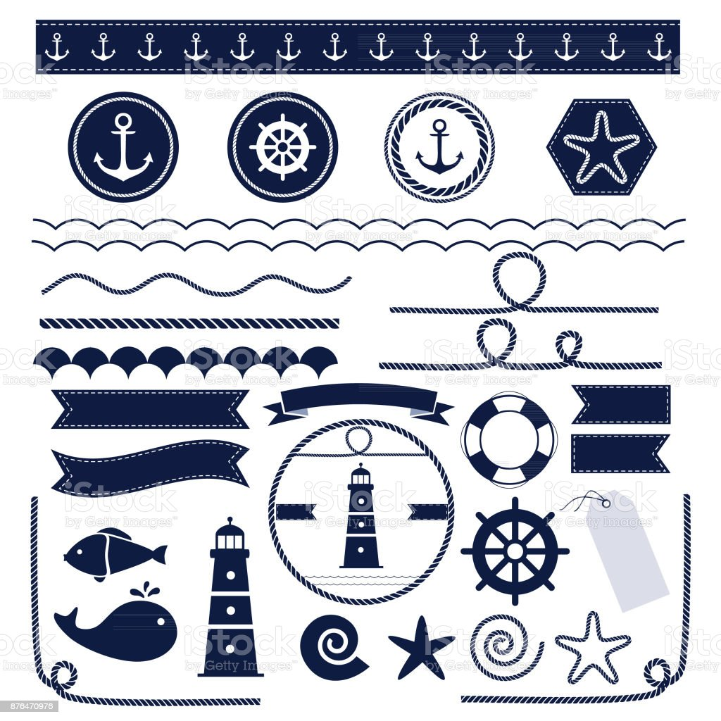 Set of sea and nautical elements vector art illustration