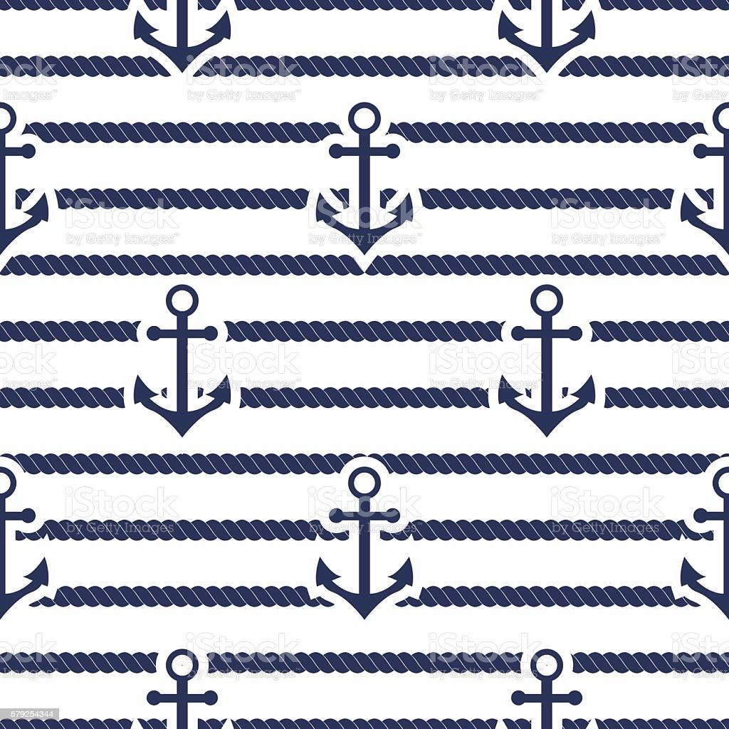Set of sea and nautical seamless patterns. Vector illustration. vector art illustration