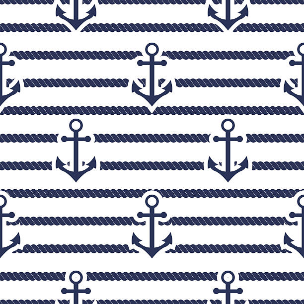 Set of sea and nautical seamless patterns. Vector illustration. vector art illustration