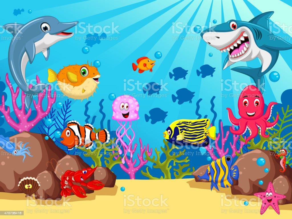 Set of sea animals cartoon vector art illustration