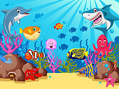 Set of sea animals cartoon