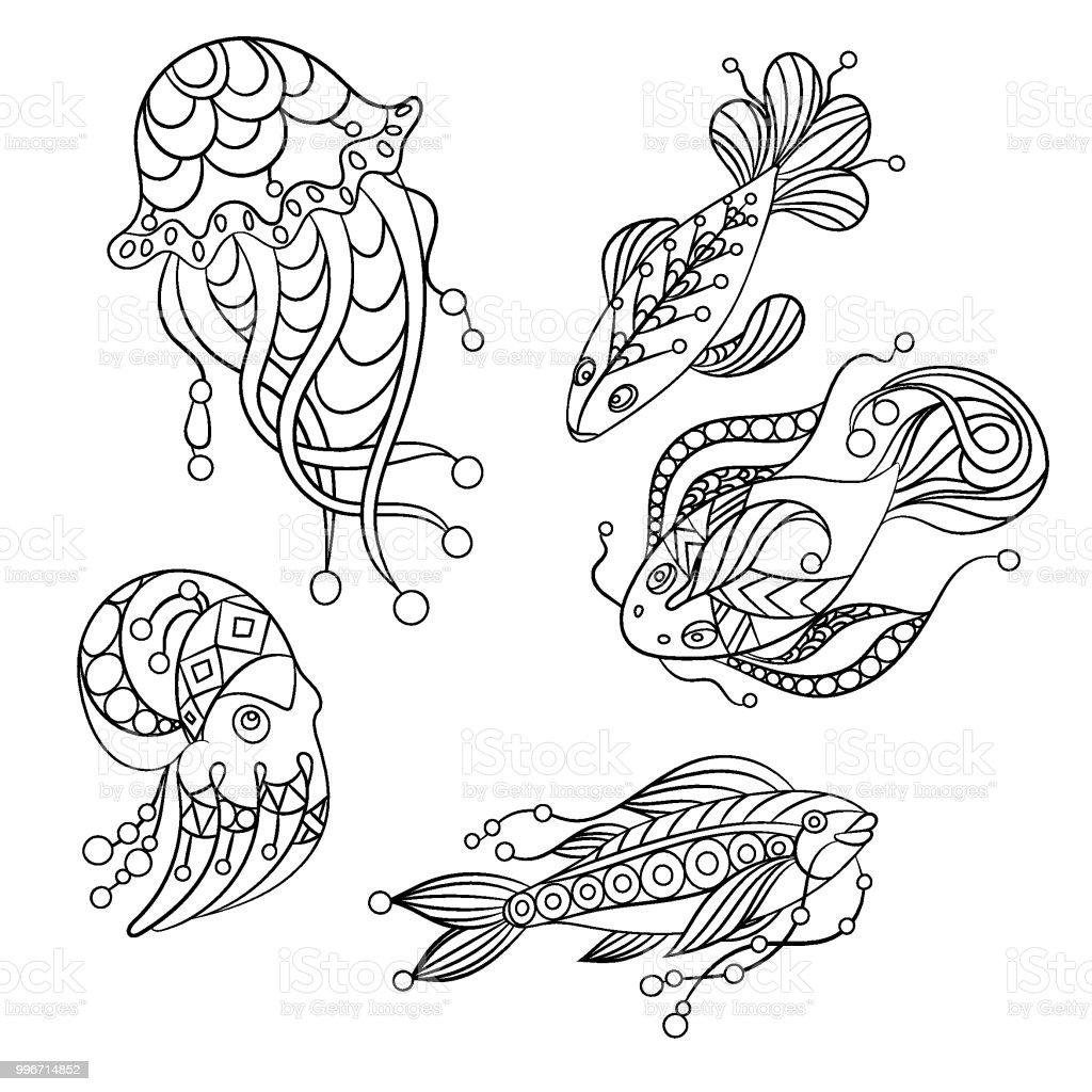 ベクトル グラフィック イラストのぬり絵の海の動物のセット - お絵かき