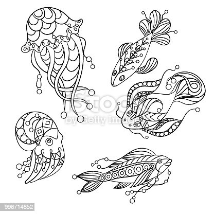 Ilustración de Conjunto De Animales Del Mar En Ilustración Gráfica ...