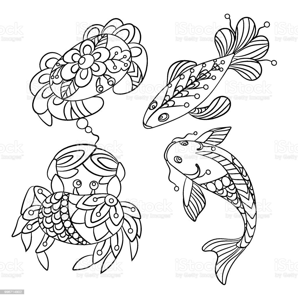 Set Of Sea Animals In Vector Graphic Illustration In Coloring Pages