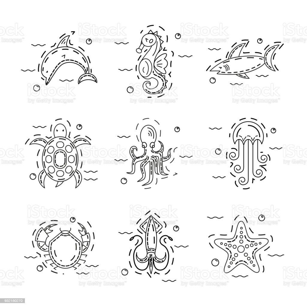 Set of sea animals vector art illustration