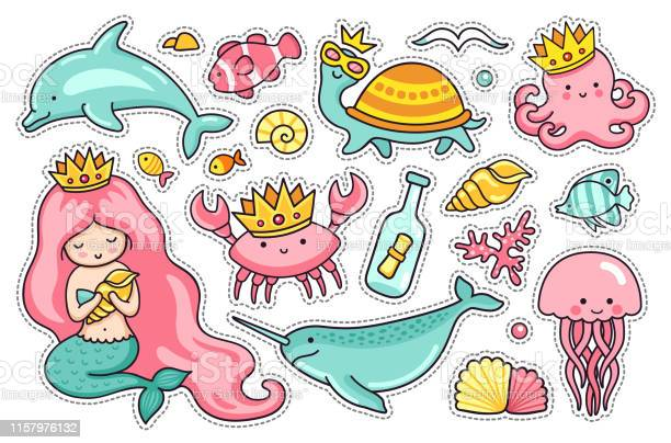 Set of sea cartoon characters mermaid narwhal jellyfish turtle crab vector id1157976132?b=1&k=6&m=1157976132&s=612x612&h= gvdyfrvokwiuc1skp59y0n3sdnc9wbw1maisuzagri=