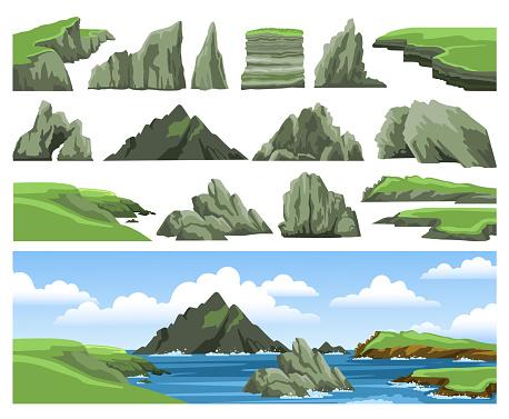 Colorful panoramic scenery. Ocean scenic view. Flat vector illustration.