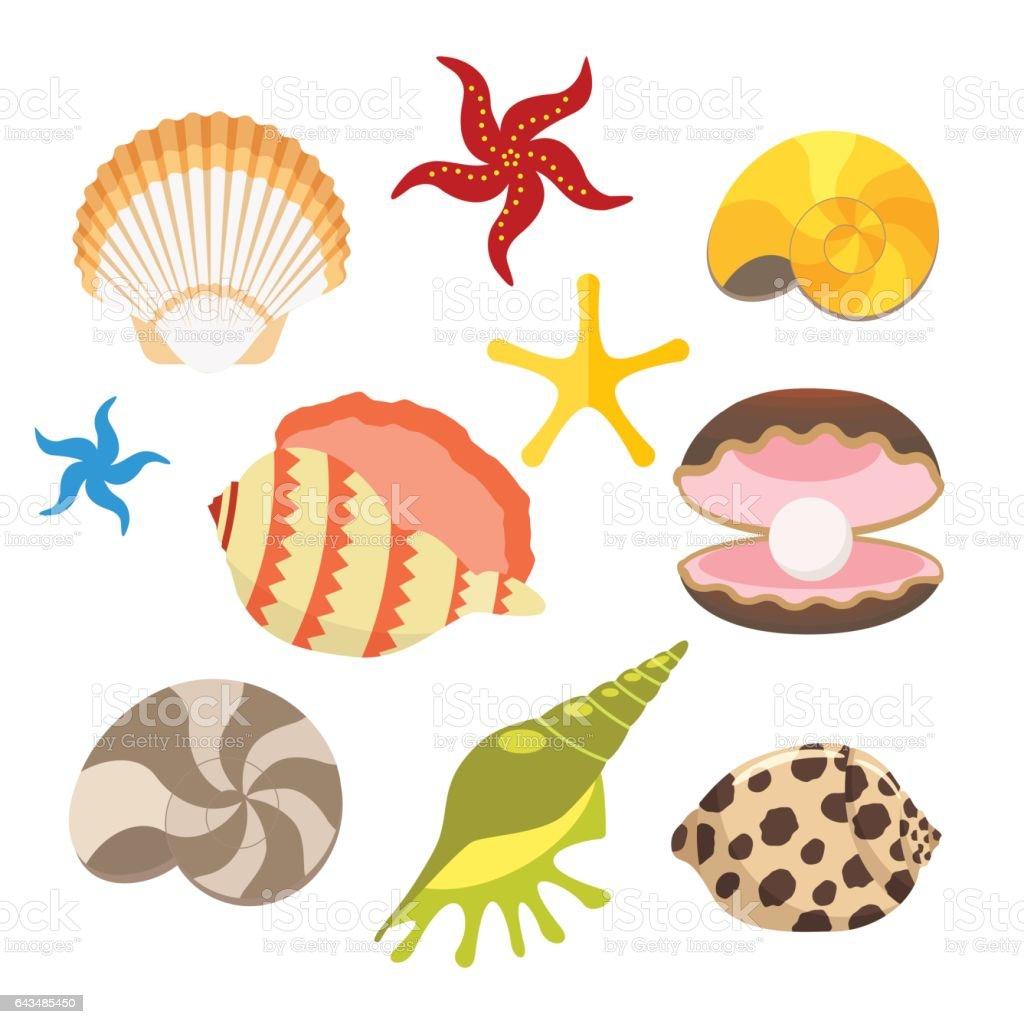 888edfe0c92f Ilustración de Conjunto Del Mar De Conchas Ostras Con Perlas Y ...