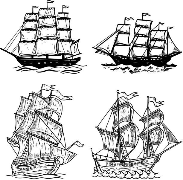 set of sea ship illustrations isolated on white background. design element for poster, t shirt, card, emblem, sign, badge - statek stock illustrations