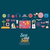 set of sea travel vector flat icons
