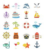 Nautical design flat cartoon icons, including ship, lighthouse, boat, anchor, marine creatures, isolated on white background.