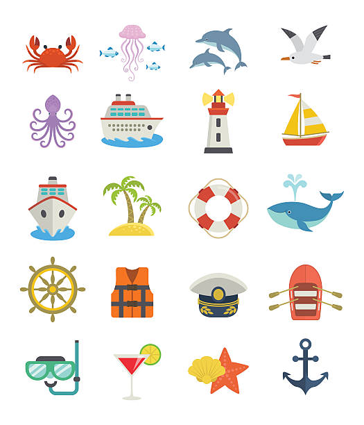 Set of sea vacation icons. Nautical design flat cartoon icons, including ship, lighthouse, boat, anchor, marine creatures, isolated on white background. seyahat noktaları illustrationsları stock illustrations