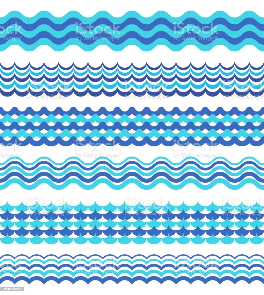 Set of sea waves borders isolated on white ilustração de set of sea waves borders isolated on white e mais banco de imagens de abstrato royalty-free