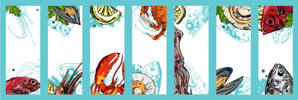 Set of seafood backgrounds. Set of cards with seafood on white background. Vector paper illustration. seafood stock illustrations