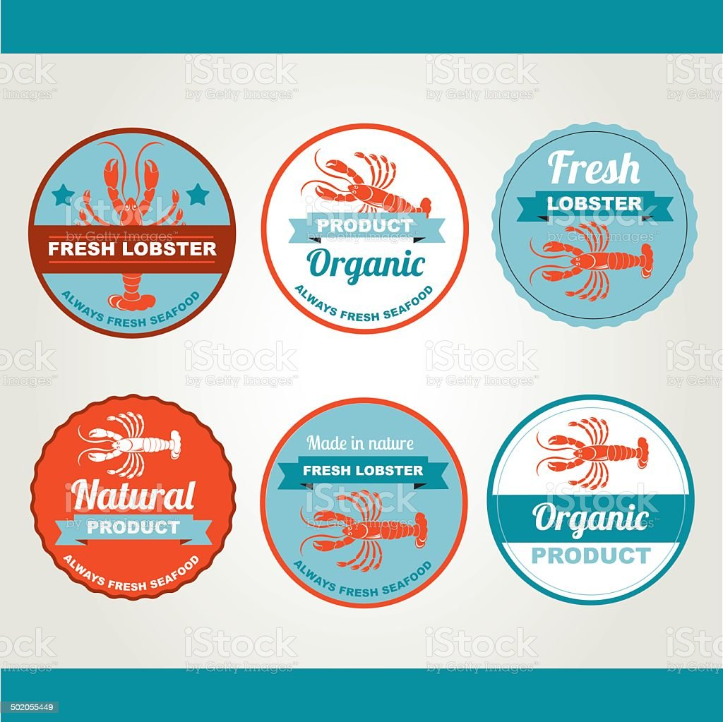 Set of seafood icons. vector art illustration
