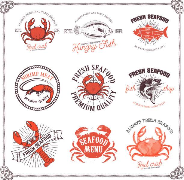 stockillustraties, clipart, cartoons en iconen met set of seafood labels isolated on white background. - krab gerecht