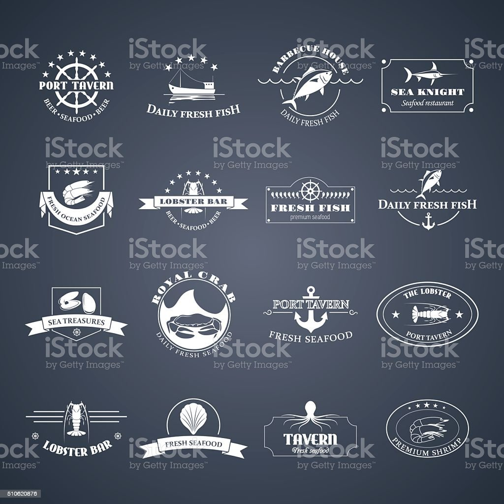 Set of seafood logos. vector art illustration