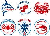 istock Set of seafood market emblems. Design element for  label, emblem, sign. 912071970